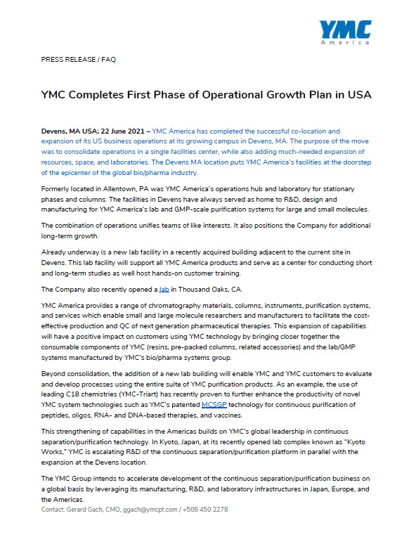 Press Release YMC Expanded Operations in America
